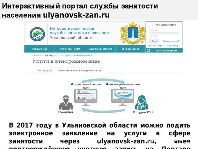 Интерактивный портал службы занятости населения ulyanovsk-zan.ru В 2017 году в Ульяновской области можно подать электронное заявление на услуги в сфере занятости через ulyanovsk-zan.ru, имея подтверждённую учетную запись на Портале госуслуг