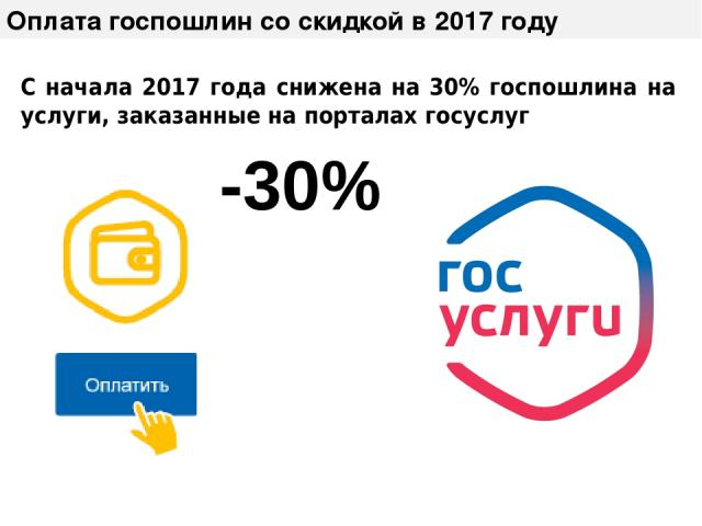Оплата госпошлин со скидкой в 2017 году C начала 2017 года снижена на 30% госпошлина на услуги, заказанные на порталах госуслуг -30%