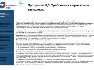 Программа 6,5. Требования к проектам и заемщикам Целевое использование кредитов
