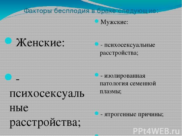 Факторы бесплодия в браке следующие: Мужские: - психосексуальные расстройства; - изолированная патология семенной плазмы; - ятрогенные причины; - системные заболевания; - врожденные аномалии; - приобретенное повреждение яичек; - инфекция придаточных…