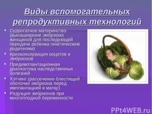 Виды вспомогательных репродуктивных технологий Суррогатное материнство (вынашива
