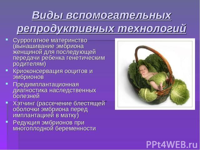 Виды вспомогательных репродуктивных технологий Суррогатное материнство (вынашивание эмбриона женщиной для последующей передачи ребенка генетическим родителям) Криоконсервация ооцитов и эмбрионов Предимплантационная диагностика наследственных болезне…