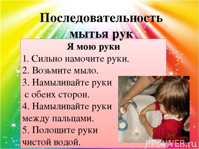 Я мою руки 1. Сильно намочите руки. 2. Возьмите мыло. 3. Намыливайте руки с обеих сторон. 4. Намыливайте руки между пальцами. 5. Полощите руки чистой водой. Последовательность мытья рук