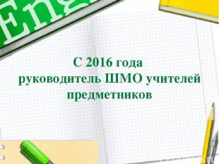 С 2016 года руководитель ШМО учителей предметников