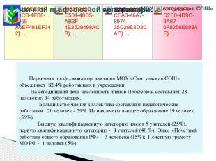 Первичная профсоюзная организация МОУ «Сынтульская СОШ» объединяет 82,4% работаю