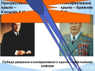 Прогрессивное крыло – Косыгин А.Н. Консервативное крыло – Брежнев Л.И. Победа ум