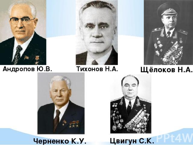 Андропов Ю.В. Тихонов Н.А. Щёлоков Н.А. Черненко К.У. Цвигун С.К.