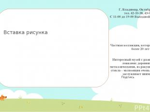 Г. Владимир, Октябрьская, 4 тел. 42-10-38, 43-03-00 С 11-00 до 19-00 Выходной -п