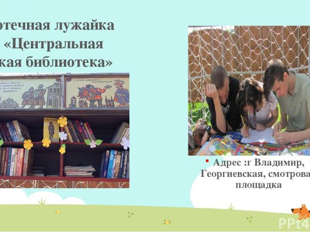 Адрес :г Владимир, Георгиевская, смотровая площадка Библиотечная лужайка МБУК «Центральная городская библиотека»