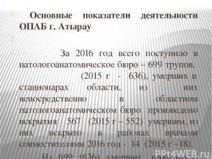 Основные показатели деятельности ОПАБ г. Атырау  За 2016 год всего поступило в