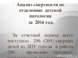 Анализ смертности по отделению детской патологии за 2016 год. За отчетный период