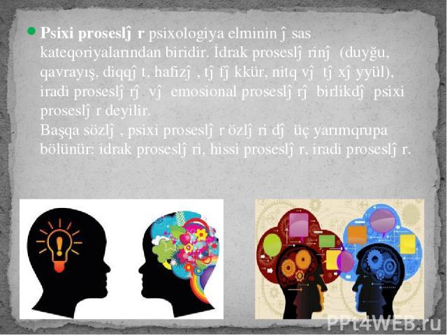 Psixi proseslərpsixologiya elminin əsas kateqoriyalarından biridir. İdrak proseslərinə (duyğu, qavrayış, diqqət, hafizə, təfəkkür, nitq və təxəyyül), iradi proseslərə və emosional proseslərə birlikdə psixi proseslər deyilir. Başqa sözlə, psixi pros…