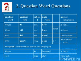 2. Question Word Questions
