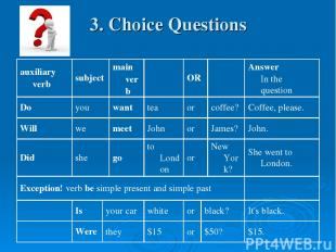 3. Choice Questions