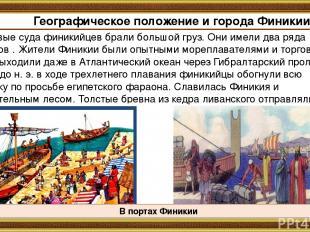 Торговые суда финикийцев брали большой груз. Они имели два ряда гребцов . Жители