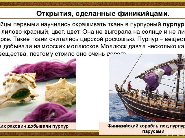 Финикийцы первыми научились окрашивать ткань в пурпурный пурпурный, то есть лилово-красный, цвет. цвет. Она не выгорала на солнце и не линяла при стирке. Такие ткани считались царской роскошью. Пурпур – вещество, которое добывали из морских моллюско…