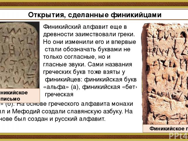 Открытия, сделанные финикийцами Финикийский алфавит еще в древности заимствовали греки. Но они изменили его и впервые стали обозначать буквами не только согласные, но и гласные звуки. Сами названия греческих букв тоже взяты у финикийцев: финикийская…