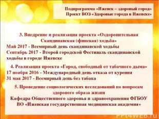 Подпрограмма «Ижевск – здоровый город» Проект ВОЗ «Здоровые города в Ижевске» 3.
