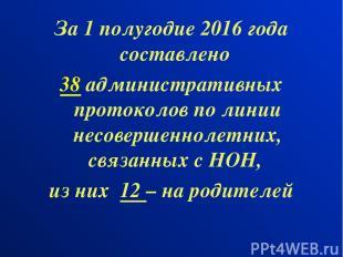 За 1 полугодие 2016 года составлено 38 административных протоколов по линии несо