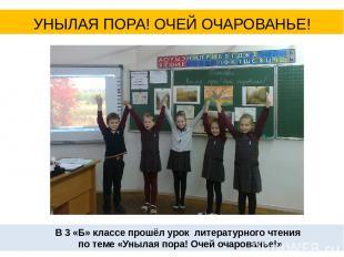 В 3 «Б» классе прошёл урок литературного чтения по теме «Унылая пора! Очей очаро