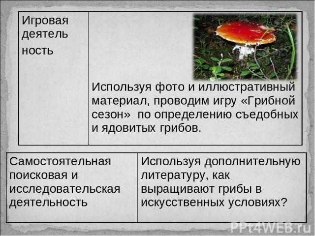 Игровая деятель ность Используя фото и иллюстративный материал, проводим игру «Грибной сезон» по определению съедобных и ядовитых грибов. Самостоятельная поисковая и исследовательская деятельность Используя дополнительную литературу, как выращивают …