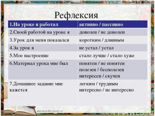 Рефлексия 1.На уроке я работал активно / пассивно 2.Своей работой на уроке я дов