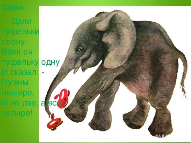 Слон Дали туфельки слону. Взял он туфельку одну И сказал: - Нужны пошире, И не две, а все четыре!