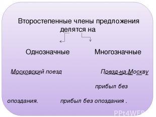 Упр. 126. Второстепенные члены предложения делятся на Однозначные Многозначные М