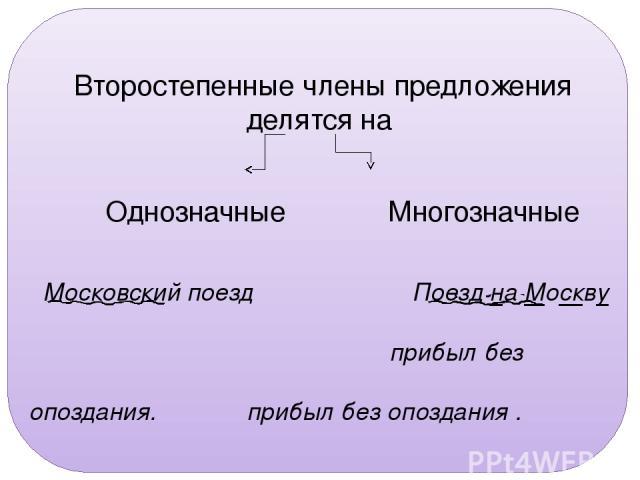 Упр. 126. Второстепенные члены предложения делятся на Однозначные Многозначные Московский поезд Поезд на Москву прибыл без опоздания. прибыл без опоздания .