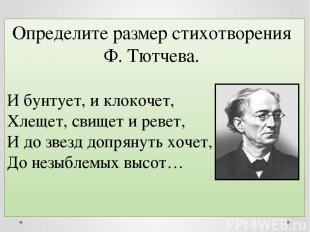 Определите размер стихотворения Ф. Тютчева. И бунтует, и клокочет, Хлещет, свище