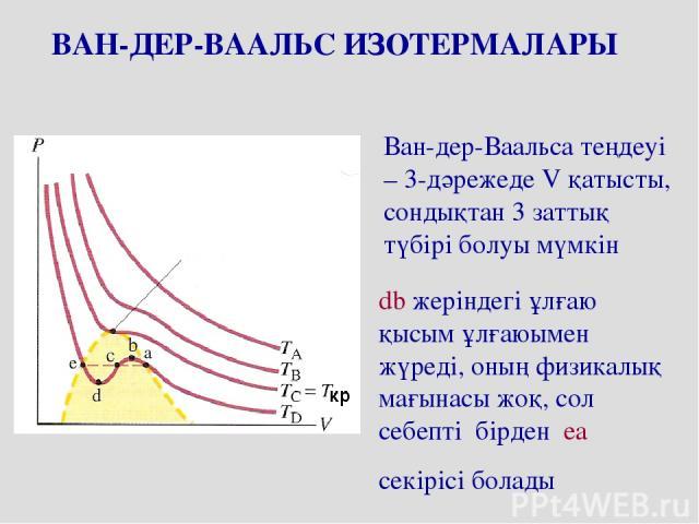 ВАН-ДЕР-ВААЛЬС ИЗОТЕРМАЛАРЫ Ван-дер-Ваальса теңдеуі – 3-дәрежеде V қатысты, сондықтан 3 заттық түбірі болуы мүмкін db жеріндегі ұлғаю қысым ұлғаюымен жүреді, оның физикалық мағынасы жоқ, сол себепті бірден ea секірісі болады