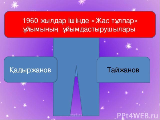 1960 жылдар ішінде «Жас тұлпар» ұйымының ұйымдастырушылары: Қадыржанов Тайжанов