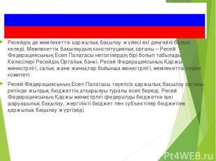 Ресейдің де мемлекеттік қаржылық бақылау жүйесі екі деңгейлі болып келеді. Мемле