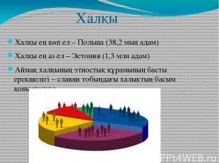 Халқы Халқы ең көп ел – Польша (38,2 мың адам) Халқы ең аз ел – Эстония (1,3 млн