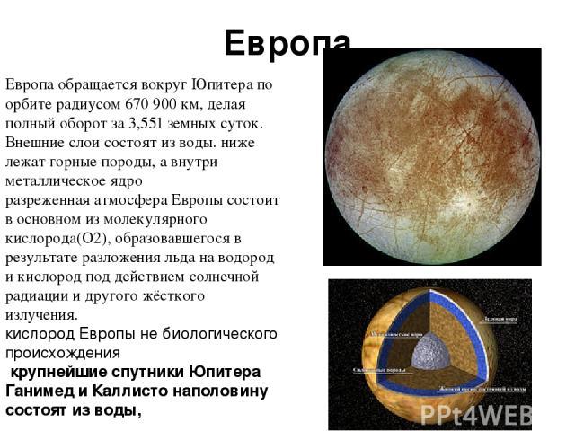 Европа Европа обращается вокругЮпитерапо орбите радиусом 670 900км, делая полный оборот за 3,551 земных суток. Внешние слои состоят из воды. ниже лежат горные породы, а внутри металлическое ядро разреженная атмосфера Европы состоит в основном из …