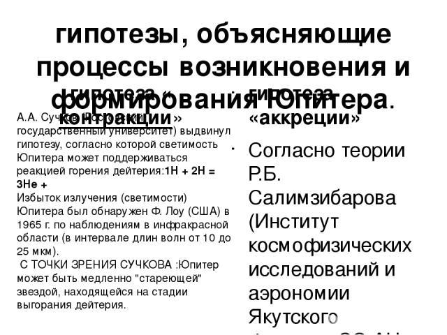 гипотезы, объясняющие процессы возникновения и формирования Юпитера. гипотеза «контракции» гипотеза «аккреции» Согласно теории Р.Б. Салимзибарова (Институт космофизических исследований и аэрономии Якутского филиала СО АН СССР), Юпитер является звезд…