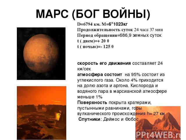 МАРС (БОГ ВОЙНЫ) D=6794 км. M=6*1023кг Продолжительность суток 24 часа 37 мин Период обращения=686,9 земных суток t ( днем)=+ 20 0 t ( ночью)=- 125 0 скорость его движения составляет 24 км/сек атмосфера состоит на 95% состоит из углекислого газа. Ок…