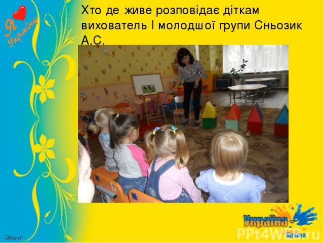 Хто де живе розповідає діткам вихователь І молодшої групи Сньозик А.С.