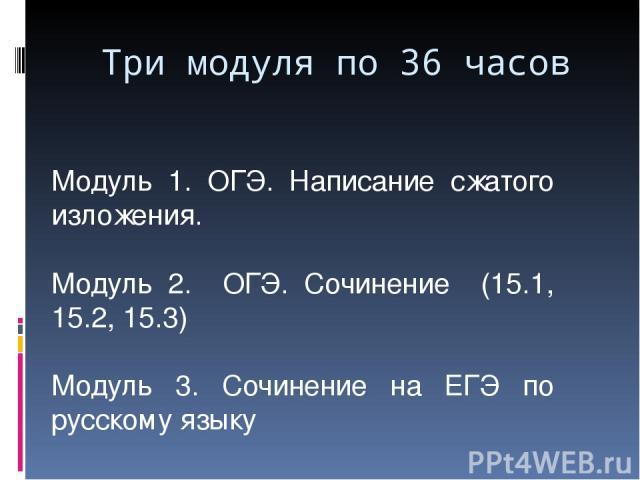 Модуль 1. ОГЭ. Написание сжатого изложения. Модуль 2. ОГЭ. Сочинение (15.1, 15.2, 15.3) Модуль 3. Сочинение на ЕГЭ по русскому языку Три модуля по 36 часов