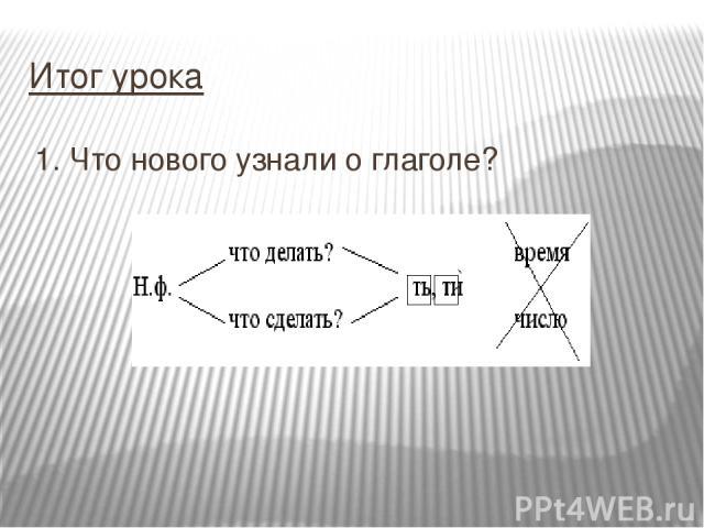 1. Что нового узнали о глаголе? Итог урока