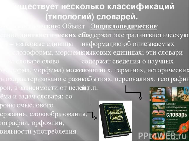 Существует несколько классификаций (типологий) словарей. Энциклопедические: Содержат экстралингвистическую информацию об описываемых языковых единицах; эти словари содержат сведения о научных понятиях, терминах, исторических событиях, персоналиях, г…