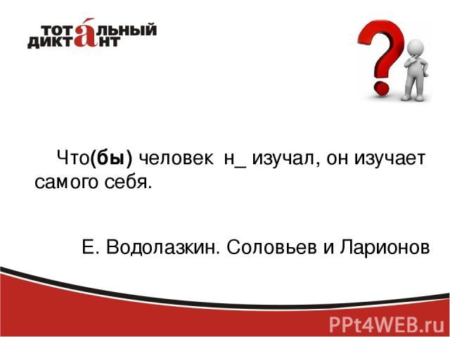 Что(бы) человек н_ изучал, он изучает самого себя. Е. Водолазкин. Соловьев и Ларионов