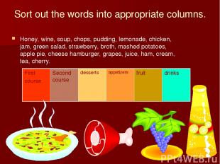 Sort out the words into appropriate columns. Honey, wine, soup, chops, pudding,