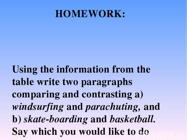 Using the information from the table write two paragraphs comparing and contrasting a) windsurfing and parachuting, and b) skate boarding and basketball. Say which you would like to do most and why. Find pictures to use with your project. Useful wor…