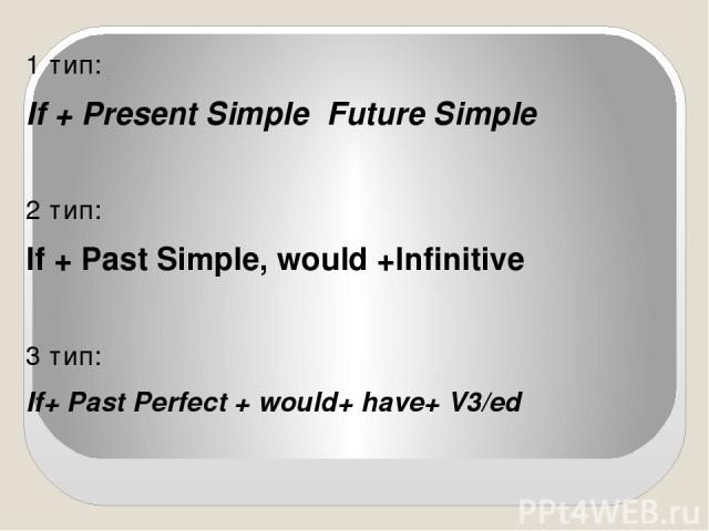 1 тип: If + Present Simple Future Simple 2 тип: If + Past Simple, would +Infinitive 3 тип: If+ Past Perfect + would+ have+ V3/ed