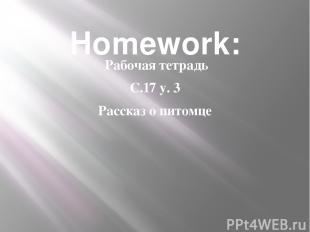 Homework: Рабочая тетрадь С.17 у. 3 Рассказ о питомце