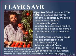 "FLAVR SAVR TOMATOES Flavr Savr (also known as CGN-89564-2; pronounced ""flavor sa"
