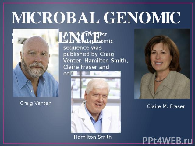 MICROBAL GENOMIC SEQUENCE Craig Venter Claire M. Fraser In 1995 the first microbial genomic sequence was published by Craig Venter, Hamilton Smith, Claire Fraser and colleagues at TIGR Hamilton Smith