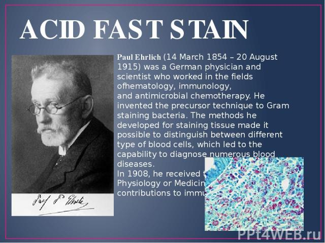 ACID FAST STAIN Paul Ehrlich (14 March 1854 – 20 August 1915) was a German physician and scientist who worked in the fields ofhematology, immunology, and antimicrobial chemotherapy. He invented the precursor technique to Gram staining bacteria. The …