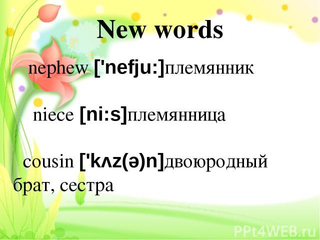 New words nephew ['nefju:]племянник niece [ni:s]племянница cousin ['kʌz(ə)n]двоюродный брат, сестра